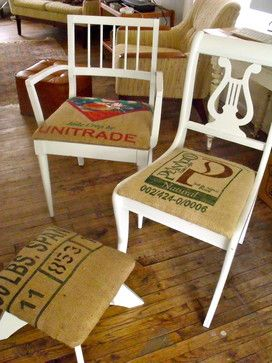 burlap coffee bag curtains | burlap coffee bag seats on up cycled antique chairs eclectic armchairs