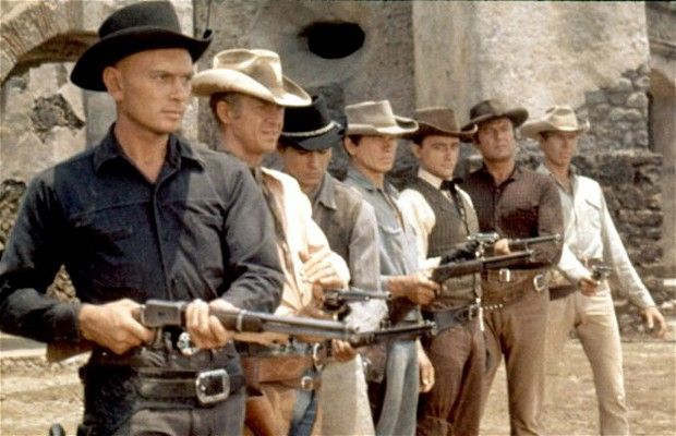 "Men:  Yul Brynner, Steve McQueen, Horst Buchholz, Charles Bronson, Robert Vaughn, Brad Dexter, James Coburn, ""The Magnificent Seven."""