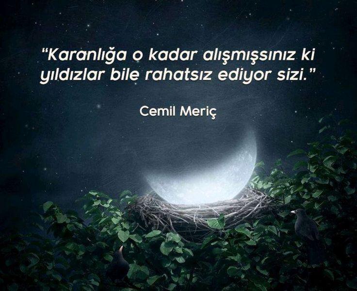 """✔""""Qaranlığa o qədər öyrəşmisiniz ki, ulduzlar da narahat edir sizi"""". #Cemil_Meriç  #sözlər"""