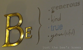 Wall writing phrase; painted with a pattern from tracing paper