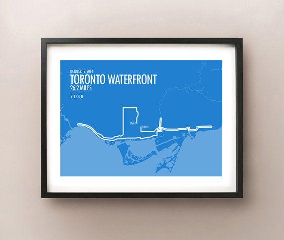 Toronto Waterfront Marathon Print 2014 by CartoCreative on Etsy #Toronto #Waterfront #Marathon