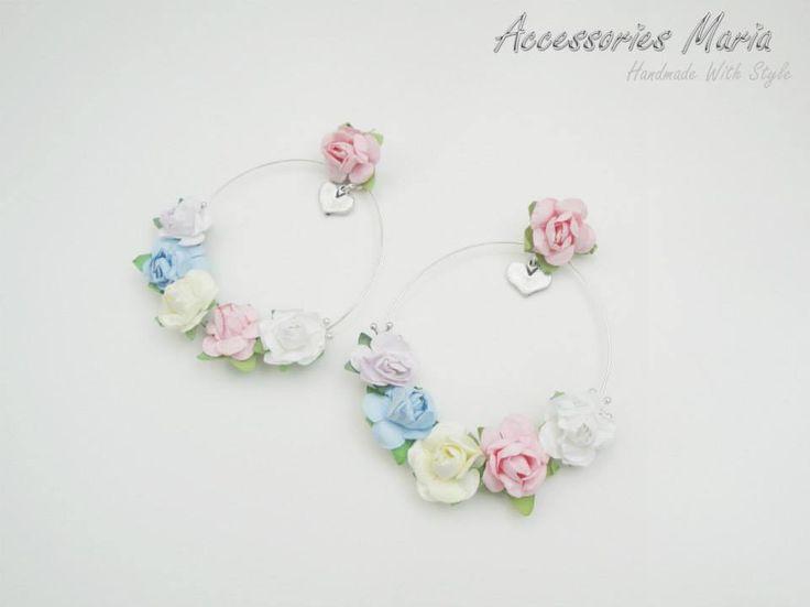 Cercei cu floricele (25 LEI la AccessoriesMaria.breslo.ro)  #earrings #flowers #roses #handmade #AccessoriesMaria