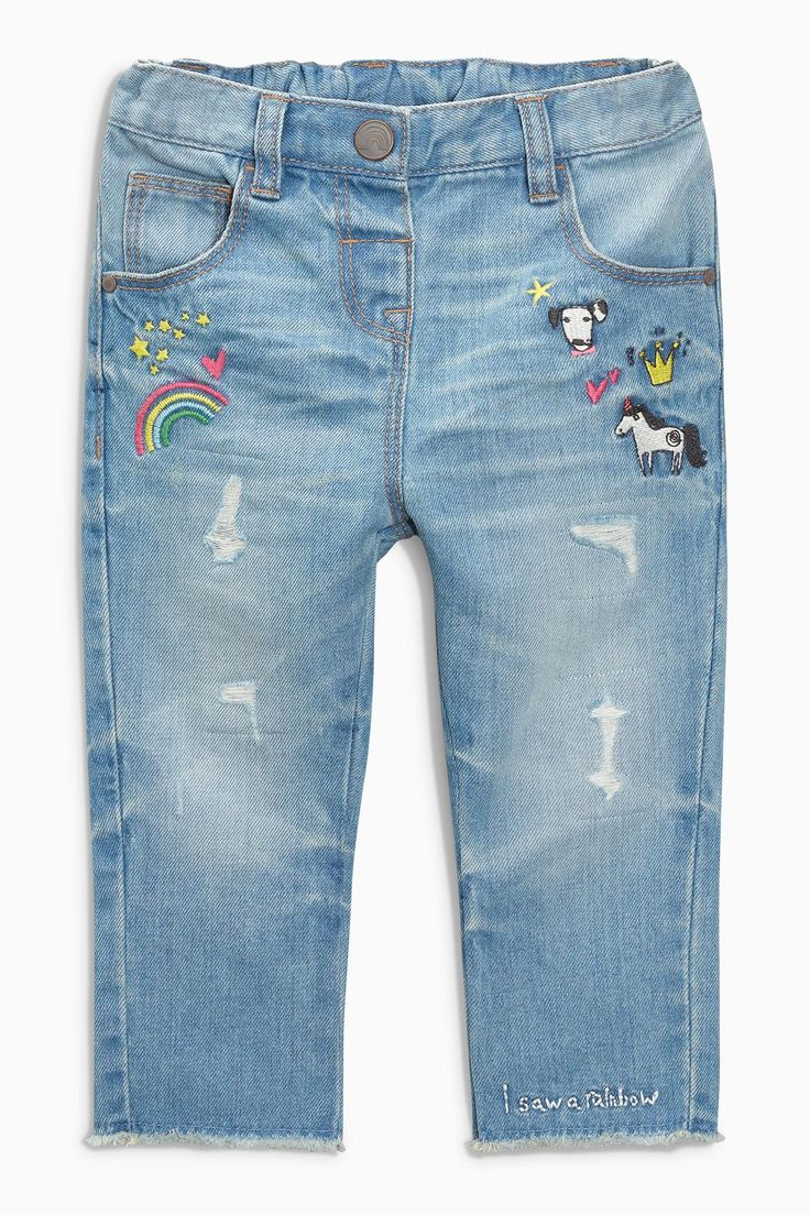 Buy Mid Blue Rainbow Embellished Jeans (3mths-6yrs) from the Next UK online shop