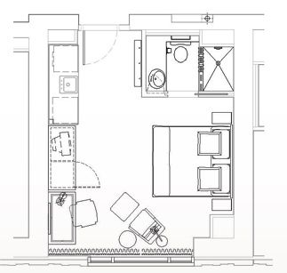 Floor plan studio apt a very common lay out and size of for Studio apartment plans 16x32