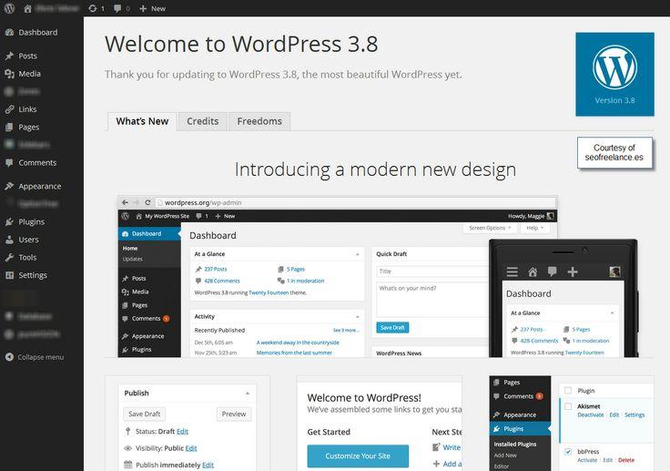 WordPress 3.8 Dashboard Wordpress 3.8 | SEO Wordpress Novedades de la nueva versión del CMS WordPress en Seofreelance.es