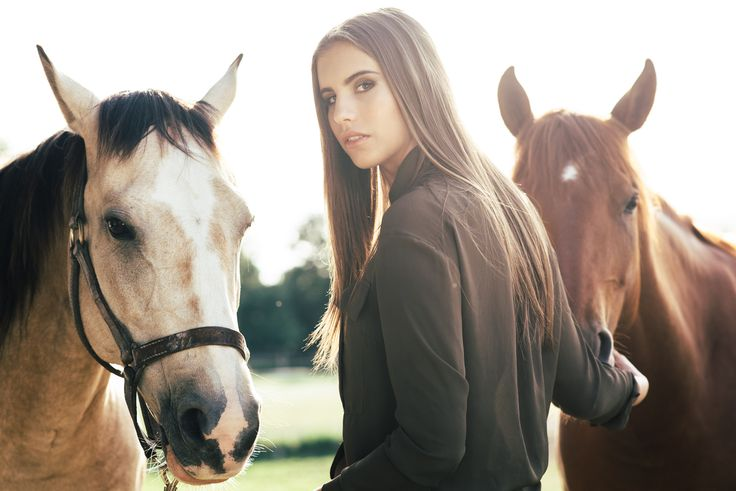 Female portrait with horses