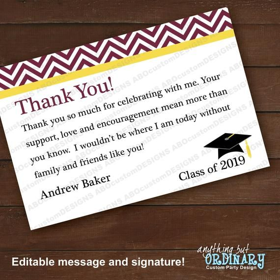 2021 Maroon And Yellow Chevron Graduation Thank You Note Etsy In 2021 Graduation Thank You Cards Thank You Notes Graduation Thank You Card Sayings