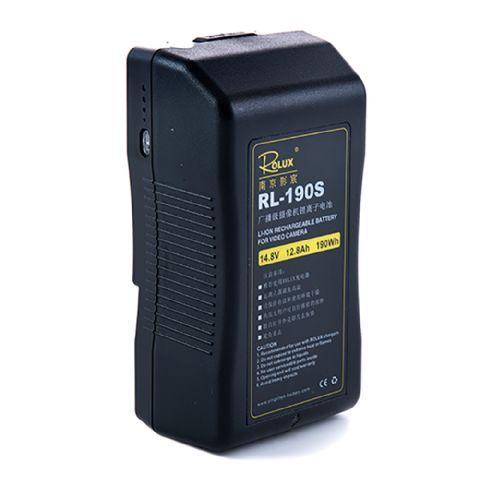 Rolux V-Mount Accu RL-190S 190Wh 148V  De Rolux V-Mount Accu RL-190S is een zeer professionele Lithium Ion accu met een capaciteit van 13Ah en 190Wh.De status van de batterij wordt aangegeven middels 4 LED indicatoren aan de zijkant van de accu. Acculader niet inbegrepen.  Toepassing  De oplaadbare accu is te gebruiken in combinatie met alle elektrische apparaten met V-Mount aansluiting zoals bijvoorbeeld LED lampen en videocamera's.  EUR 316.95  Meer informatie