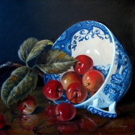 Spode Blue Italian miniature oil painting by JEANNE ILLENYE