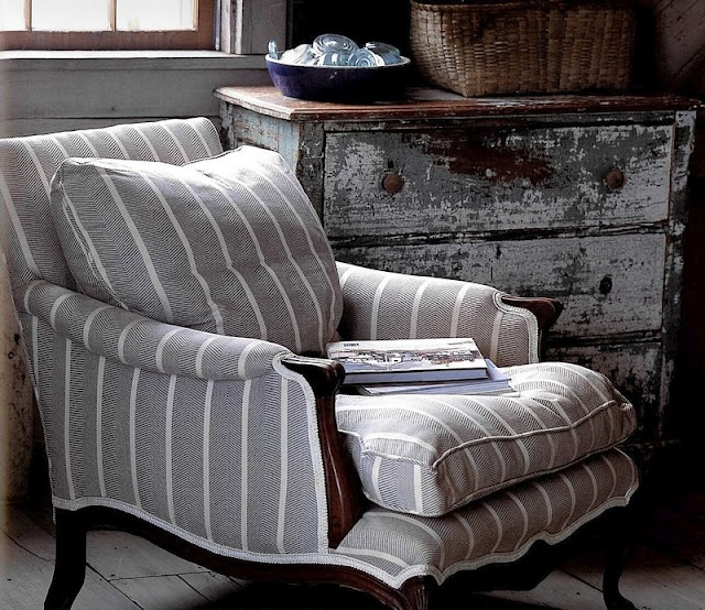 Grey striped chair.  That's one nice lookin' French provincial!