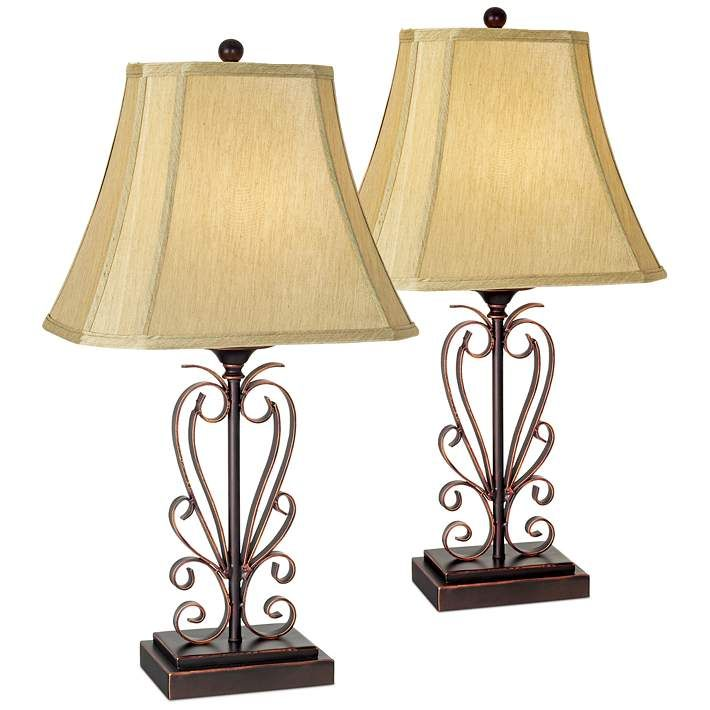 Set Of Two Iron Scroll Table Lamps By Franklin Iron Works 06424