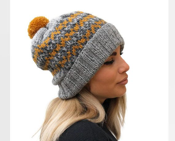 Knit wool hat  / Fair isle women hat / winter by PepperKnit