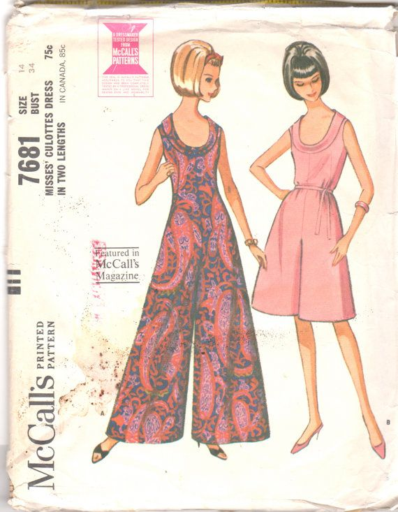 1960s  McCalls 7681 Misses Palazzo JUMPSUIT Culotte Dress Low U Cowl Neck womens vintage sewing pattern by mbchills