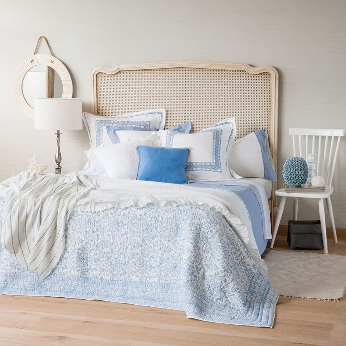 HAND PRINTED COTTON CUSHION COVER AND QUILT - Quilts - Bedroom | Zara Home United States of America