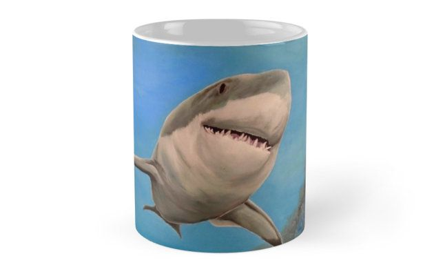Coffee Mug,  home,kitchen,accessories,cool,beautiful,fun,fancy,unique,trendy,artistic,awesome,unusual,gifts,presents,for sale,design,ideas ,aqua,blue,turquoise,shark,redbubble