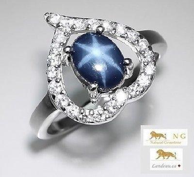 1.98 ct BLUE STAR SAPPHIRE HEART RING 7 - A
