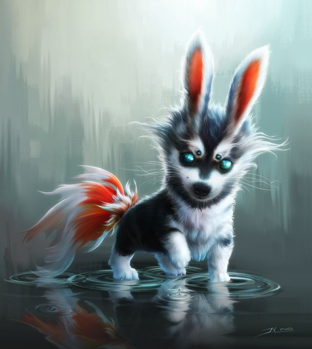 Cute Fantasy Creatures | Fluffy Pup Picture (2d, illustration, fantasy, creature)