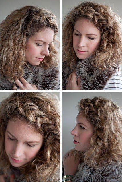 backwards braid in messy second day curls = big hair