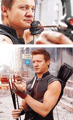 Hawkeye - guys, I just noticed Hawkeye's left handed. He holds his bow in his right hand and draws back with his left.<< Yep, Jeremy Renner is the cutest leftie to ever left^.^