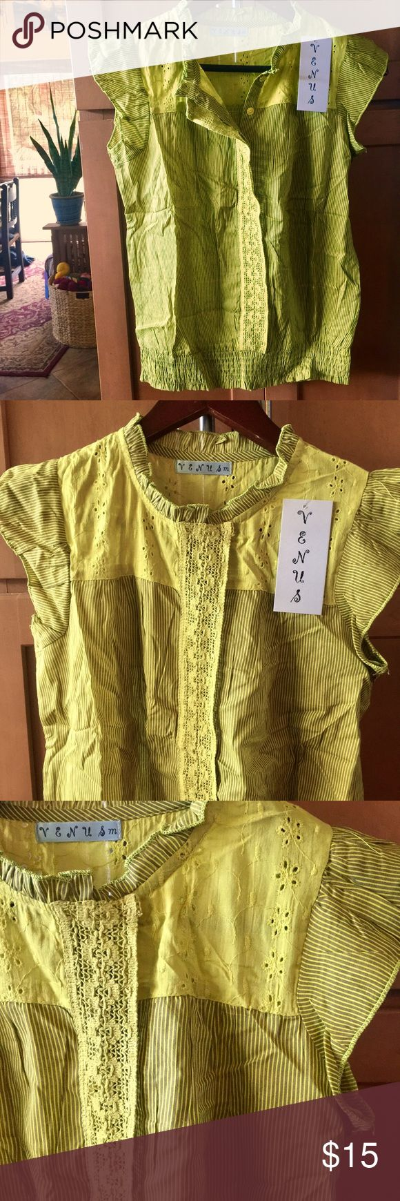 Venus yellow/green striped blouse Venus yellow/green striped blouse. Light blouse with pretty lace detail. Buttons up and then also has a snap closer for the top of the neck. Venus Tops Blouses