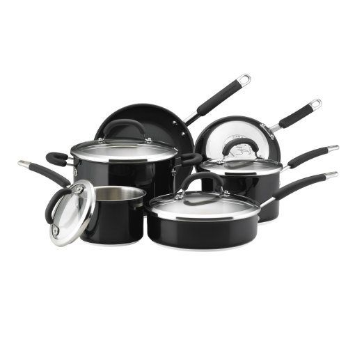 Rachael Ray Stainless Steel II Colors Dishwasher Safe 10-Piece Cookware Set, Black: Rachel Ray Cookware Set: Kitchen & Dining