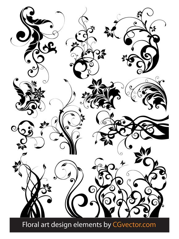 Floral Design Tree | free vectors graphics - Floral art design elements