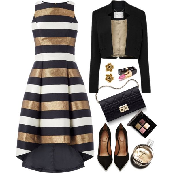 Metallic Stripe Dress by kiki-bi on Polyvore featuring Givenchy, Oscar de la Renta, Chanel, Christian Dior and metallicdress