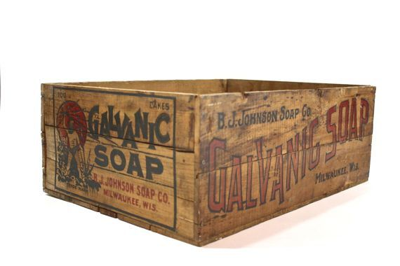 Vintage  Wood Crate / Vintage Wood Soap Crate / Industrial Home Decor