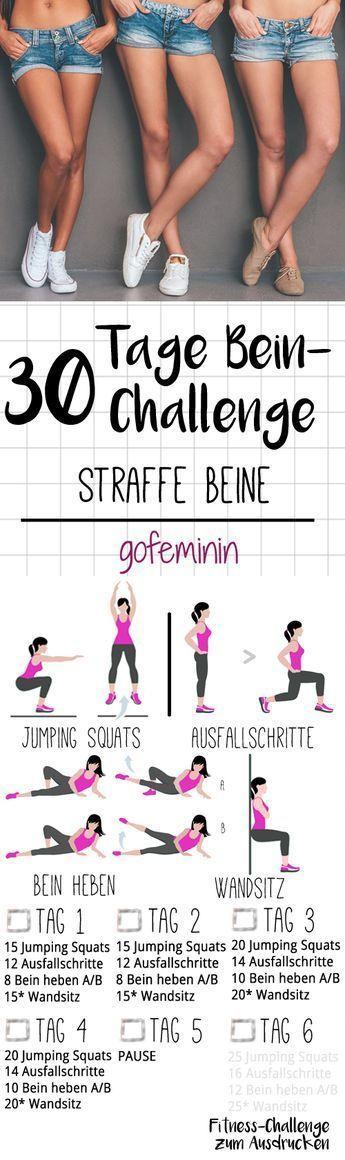Die ganze Challenge gibt's zum Ausdrucken bei gofeminin.de. Startet jetzt mit dem Kurze-Hose-Training für den Sommer - mit der 30-Tage-Bein-Challenge! (Gym Diet Plan)