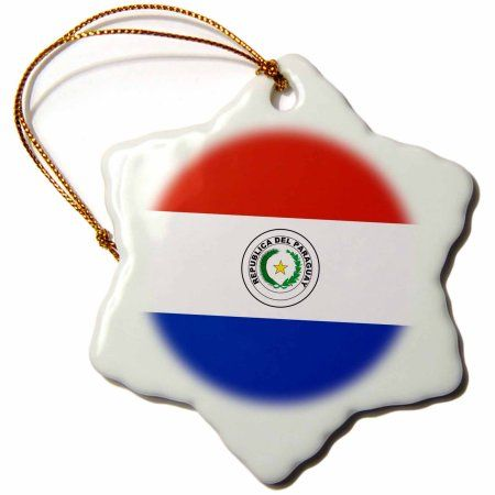 3dRose Flag of Paraguay - Paraguayan red white blue with palm olive branch star coat of arms South America, Snowflake Ornament, Porcelain, 3-inch
