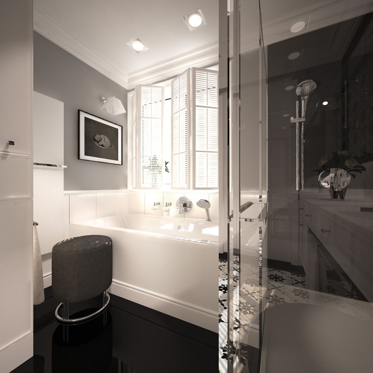 Bathroom design with a note of classics. Bathroom of the surfaced 8,8m2. Warsaw, Poland. www.artandarchitecture.pl