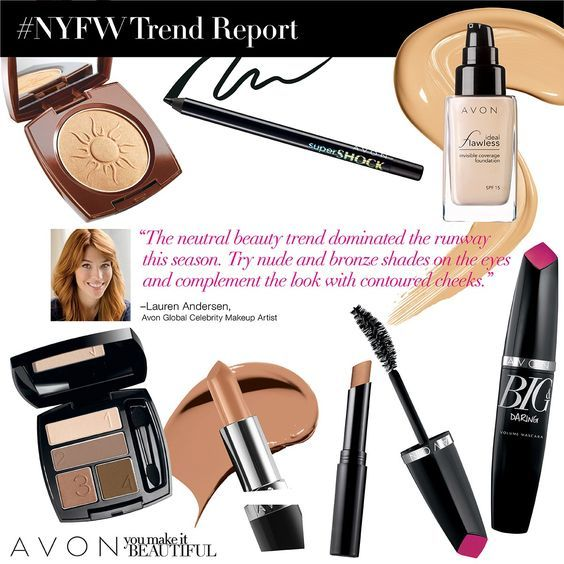 Trend Report: The neutral beauty trend dominated the runway this season. Try nude and bronze shades on the eyes and complement the look with contoured cheeks. Lauren Anderson Avon global Celebrity Makeup Artist. #AVON #MAKEUP #AVONMAKEUP #AVONMASCARA #AVONLIPSTICK #AVONEYESHADOW #SHOPONLINE