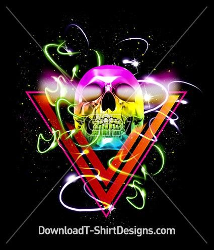 Neon Glow Triangle Skull. Download this design and print on your T-Shirts or products today at: http://downloadt-shirtdesigns.com/downloadt-shirtdesigns-com-2122850.html