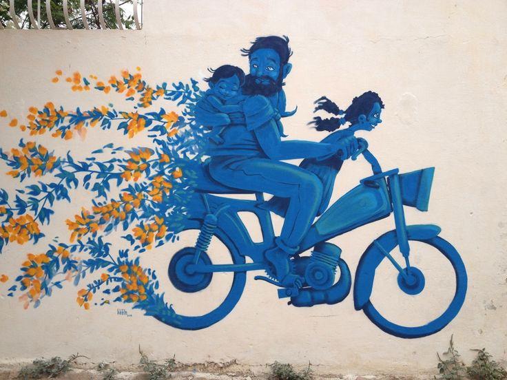 Close-up mural by Mario Belem for the Djerbahood project - Djerba, Tunisia -