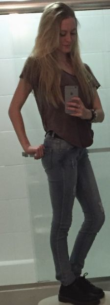 "I ran out of mirrors. Full-length broke :D Purple poncho-like shirt, blue jeans, low-top black Doc Martens. Fall 2015. (Trying to resemble a certain ""Divergent"" :P)"