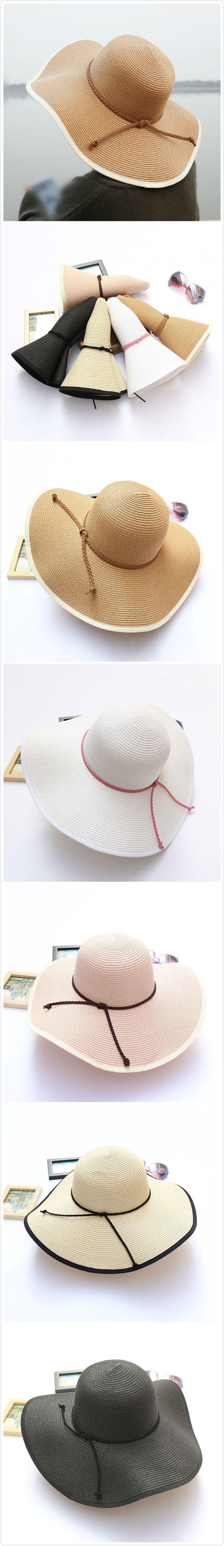 [$ 10.98]   Women Summer Foldable Solid Panama Style Beach Straw Hat Casual Travel Wide Brim Visor Sun Hat