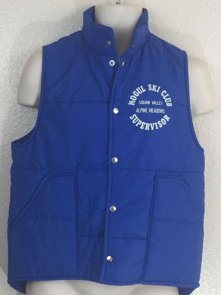 Vintage Mens Ski Vest Mogul Ski Club Supervisor! Squaw Valley Med USA #Dunbrooke