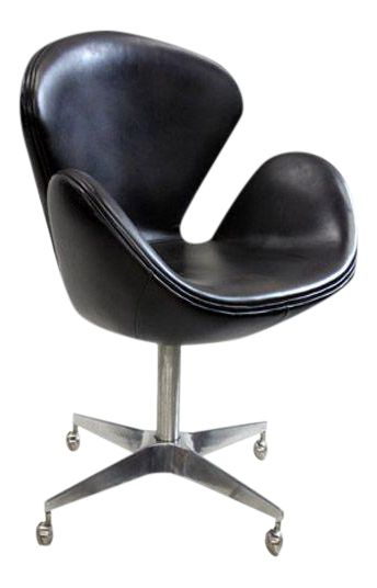 Arne Jacobsen Reproduction Swan Brown Leather Chair on Chairish.com