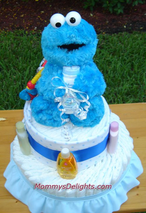 This Is The Perfect Diaper Cake For The Arrival Of A Baby Boy. Created With  All Kidu0027s Favorite Cookie Monster From Sesame Street, This Cake Blends  Itself ...