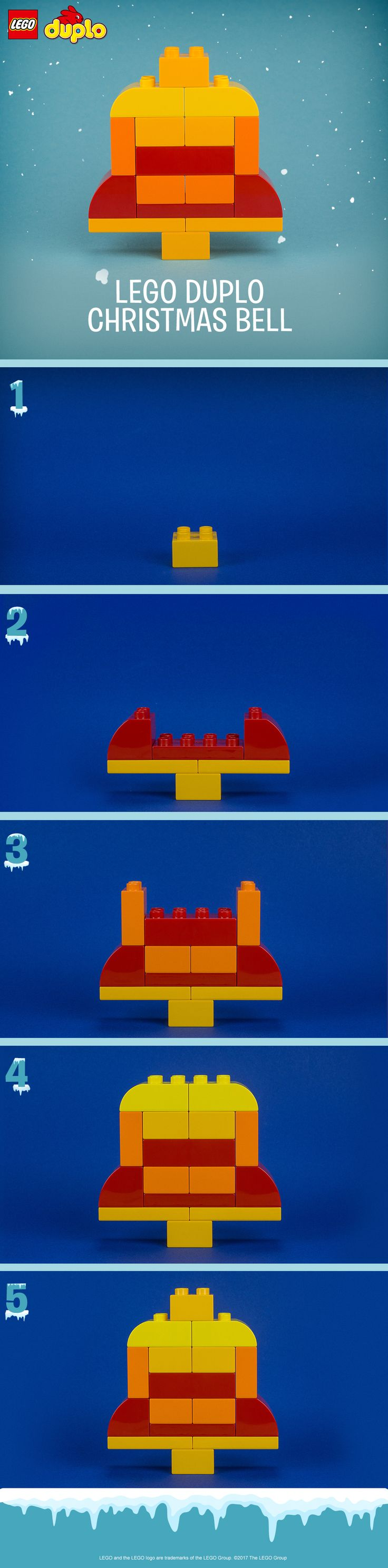 This Christmas bell is a fun and simple LEGO DUPLO building activity for kids during the holiday season. It makes a perfect decoration - or your toddler can take it apart and rebuild for endless festive fun. Follow the pattern, or use colorful bricks and encourage your child to be creative with their own design.  You can make this and many more holiday builds with the LEGO DUPLO All-in-One-Box-of-Fun. Click to buy.
