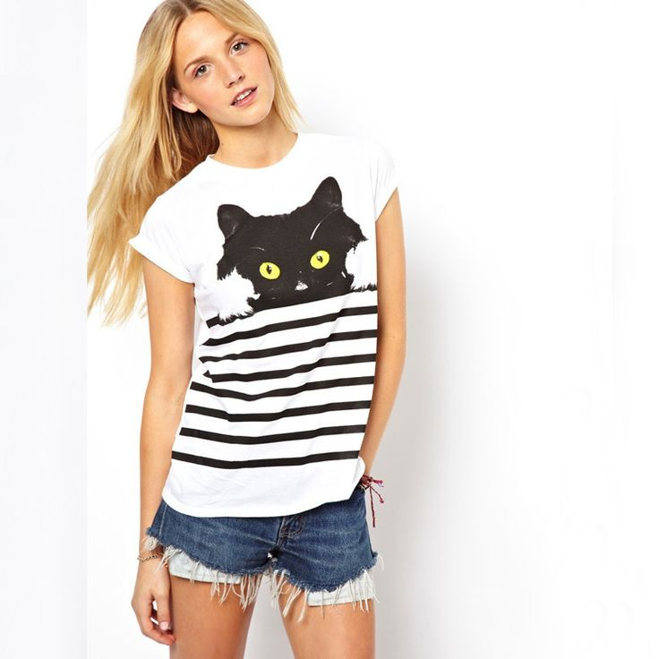 Spring Summer 2014 Short Cap Sleeve O-neck Round Collar Striped Cat Animal Print Womens Tees T-shirts Tops White Free Shipping Now only  $10.80