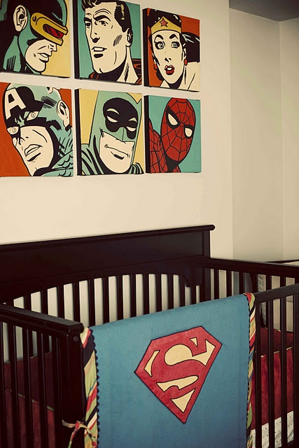 vintage comic book themed nursery-- oh how i wish we could do Gavins nursery like this!! :)