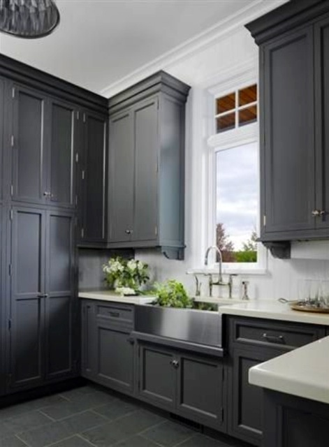 Grey cabinetry slate floors stainless steel sink for Colored stainless steel sinks