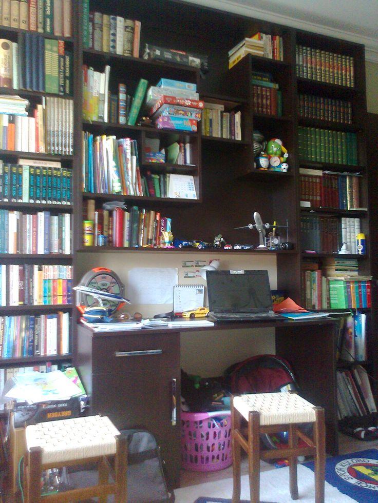 kitaplık çalışma masası