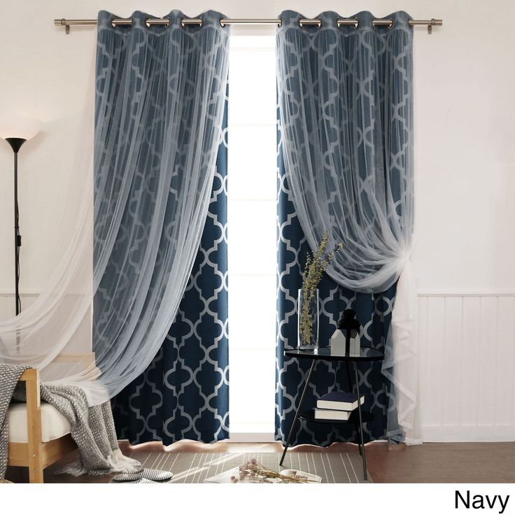 Aurora Home MIX & Match Curtains Morroccan Room Darkening and Lace 84/ 96-inch Bronze Grommet 4-piece Curtain Panel Pair (