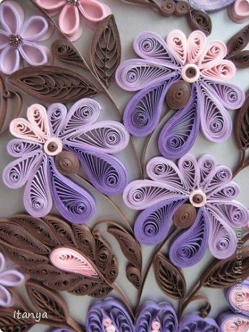 Картина панно рисунок Квиллинг Шоколадно-сиреневое панно Бумажные полосы Картон Клей фото 9