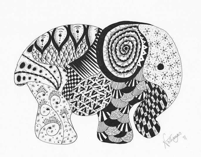 Zentangle, Elephant, good luck, birthday, wedding, anniversary, new baby, valentine. £19.99, via Etsy.