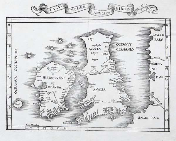 LOT:563 | Martin Waldseemuller, 1470-1520, after Ptolomy Tabu Moder Anglir Hibrol A map of Ireland and the British Isles with part of Germany and France. Woodblock, 395 x 550mm This very rare map depicting Ireland by Waldssemuller as printed circa 1535. Note the mythical island of Brazil included off the west coast. Waldseemuller was the first person to name America on a chart in honour of Amerigo Vespucci, later he regretted the decision and changes it to unknown lands, however 1000 copies…