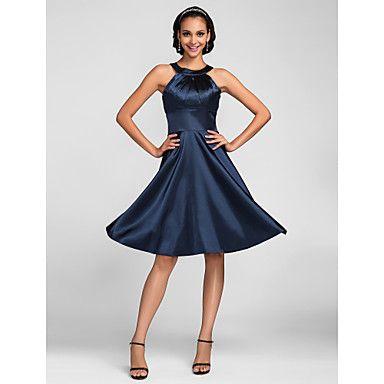 una línea de joyas de rodilla-longitud del satén del estiramiento del vestido de dama de honor (663659) – USD $ 87.29
