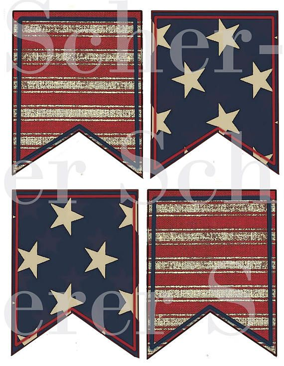 Stars and Stripes County Red White Blue Patriotic Flag American Banner Primitive Folk Art Instant Download Printable Collage Sheet